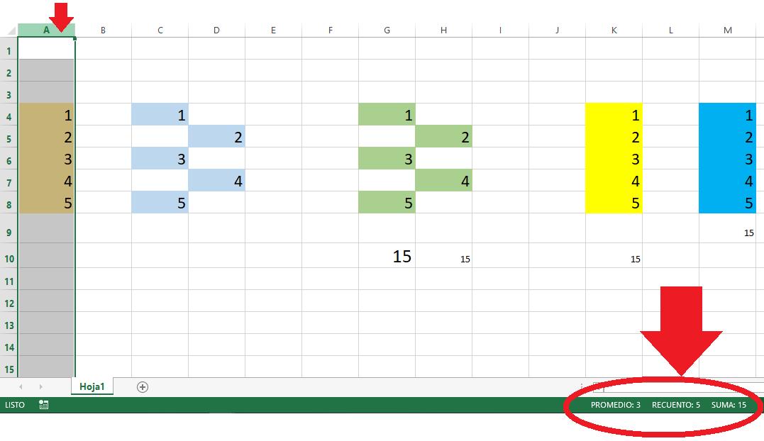 Sumar seleccionando columna en Excel