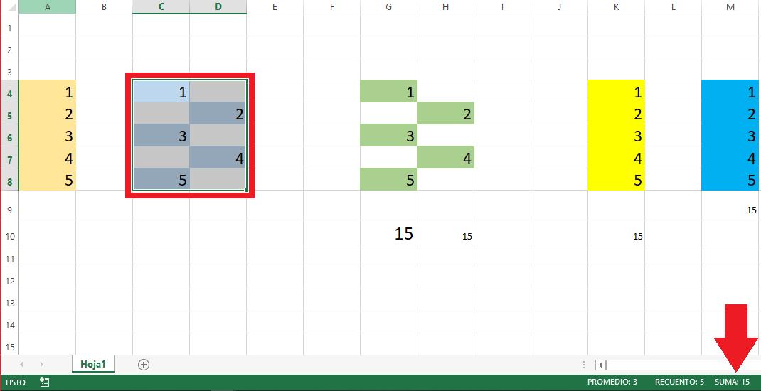 Sumar seleccionando rango de celdas en Excel