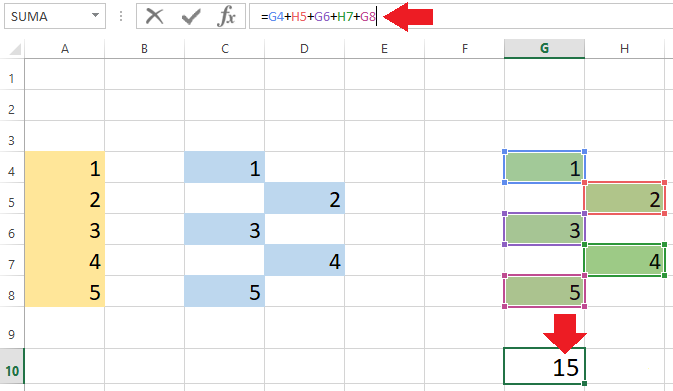 Sumar con barra de fórmulas en Excel