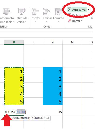 Sumar con autosuma en Excel