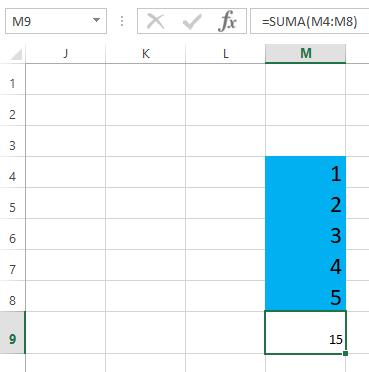 Sumar con función SUMA en Excel