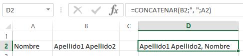 ejemplo de la función CONCATENAR