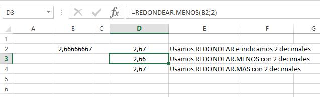 ejemplo de la función REDONDEAR.MENOS y REDONDEAR.MAS