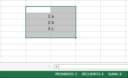 detalle recuento en barra de Excel