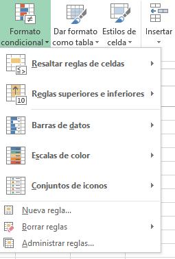 Desplegable de opciones del formato condicional en Excel
