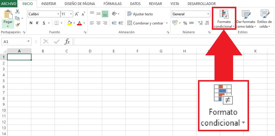 Icono del Formato condicional en Excel 2013