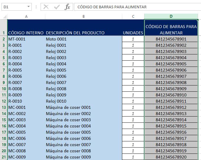 Inventario de productos sin código de barras