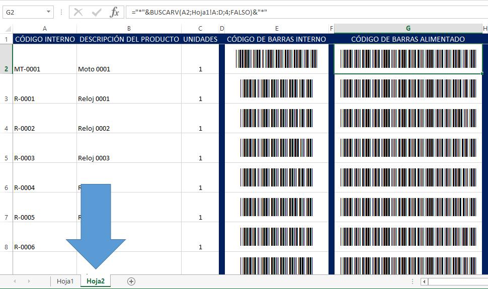 Listado de productos para añadir código de barras