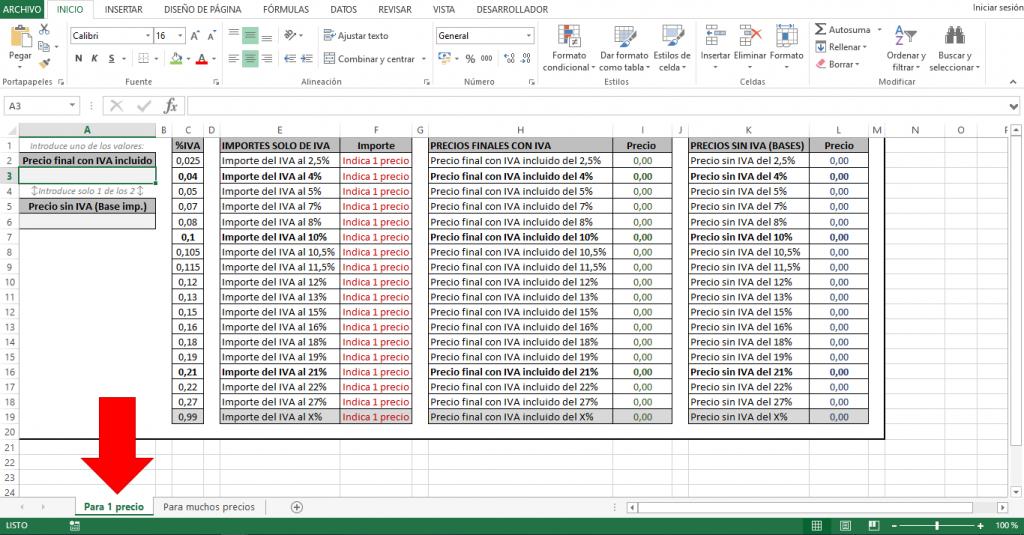 Plantilla para calcular IVA de un precio en Excel
