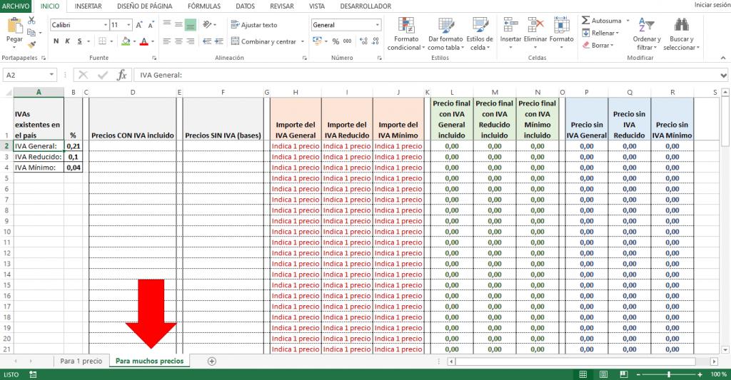 Plantilla para calcular IVA de varios precios en Excel