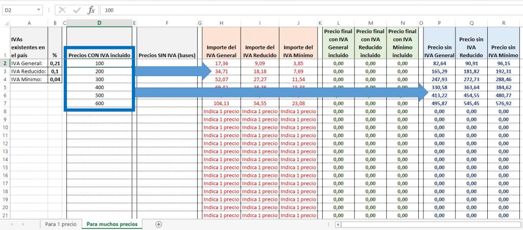 Ejemplo de cálculo de la base de varios precios con IVA en Excel