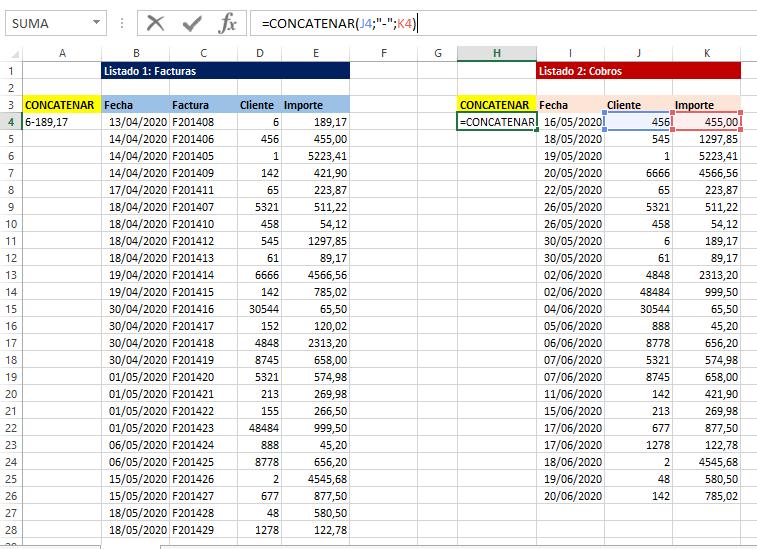 Función CONCATENAR para diferenciar registros de un listado