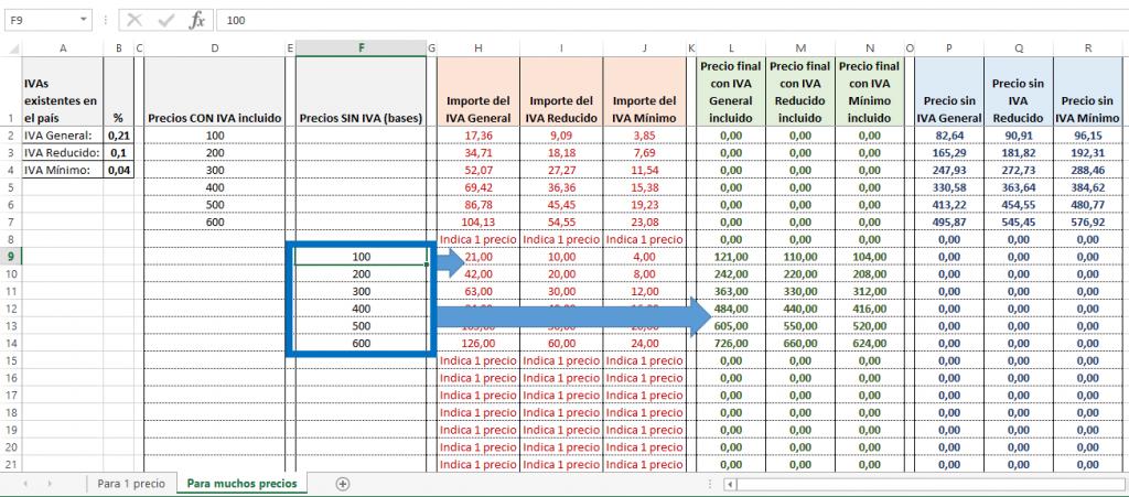 Ejemplo de cálculo de incluir el IVA a varios precios sin IVA en Excel