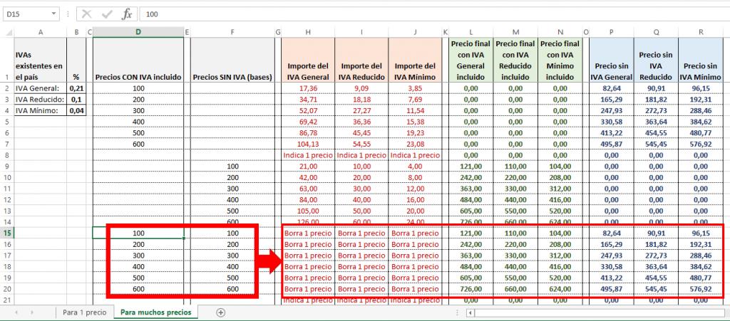Ejemplo del cálculo de varios precios con y sin IVA en Excel