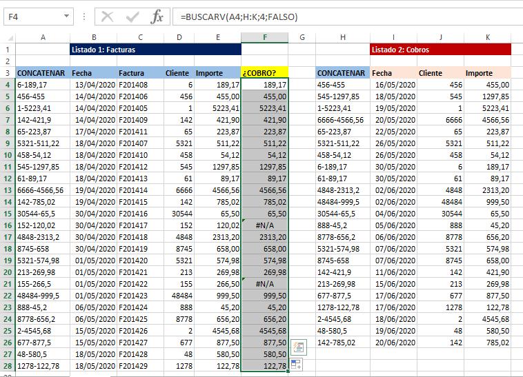 Puntear facturas con cobros en Excel