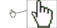 Cursor Excel mano para indicar