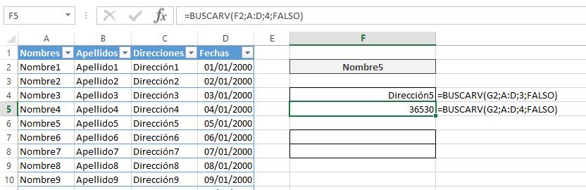 BUSCARV sobre tabla de datos