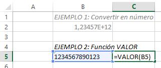 funcion VALOR de Excel